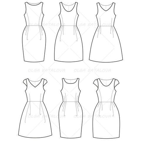 Women's Empire Waist Dress Fashion Flat Template