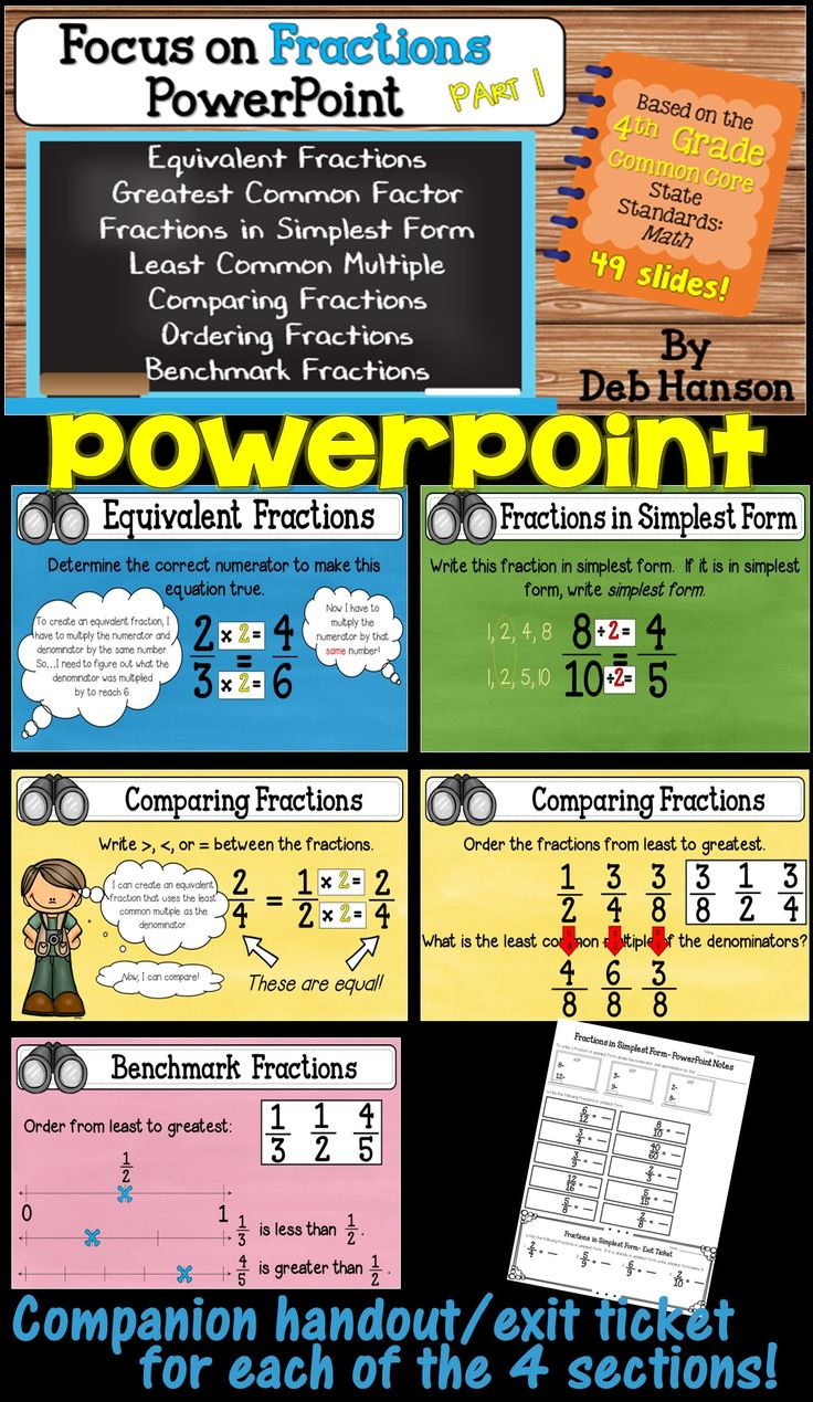 4th grade fractions PowerPoint! This PowerPoint focuses on the first half of the fourth grade Common Core State Standards. Includes fractions creating equivalent fractions and fractions in simplest form. Benchmark fractions, too! Each of the four sections contain its own companion handout and exit ticket!