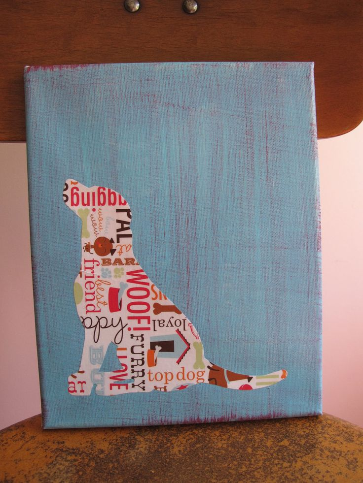 Good idea - take good photos of dog/cat silhouettes, cut out, trace on scrapbook paper, paint canvas, put paper on canvas, maybe add a name with thickers -- everyone gets their own canvas!!