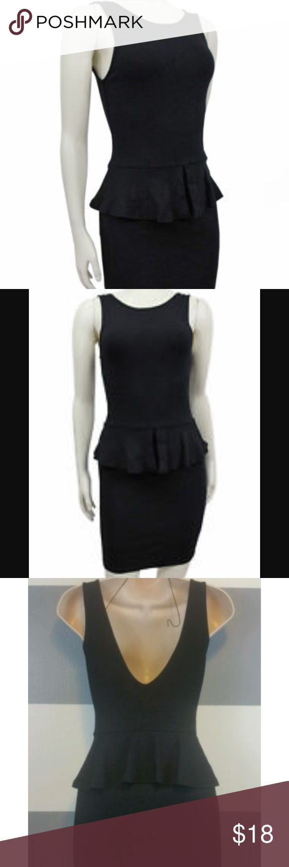 Zara black peplum dress! Zara basic black peplum dress. Can be formal to wear to work or dress up for a night out! Plunging back (see last picture)! Very versatile. In great condition, lightly worn. No rips/tears/stains. Zara Dresses Mini