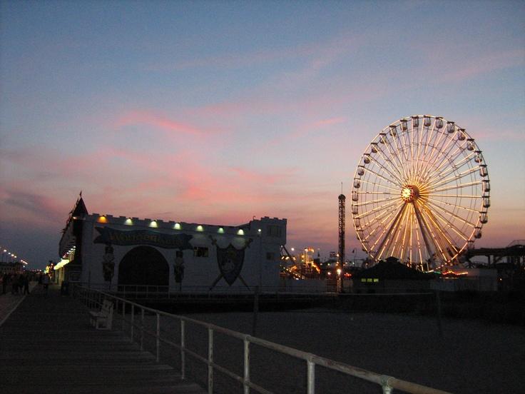 Sunset on boardwalk of Ocean City N.J.