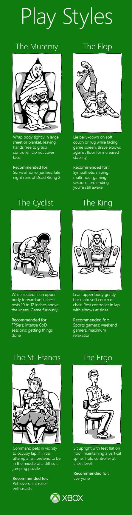 Yep it happened I became addicted to video games I usually sit like the king or the cyclist.