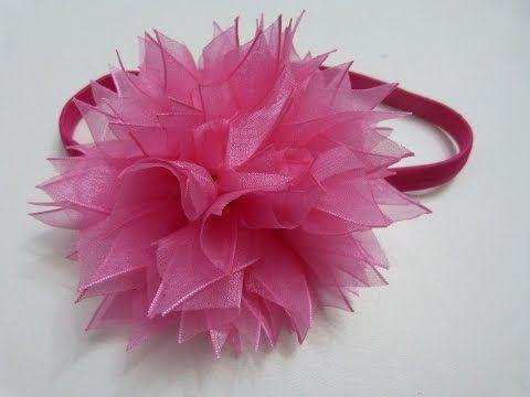 Diademas en gasa con rosas en cintas de organza para el cabello - YouTube