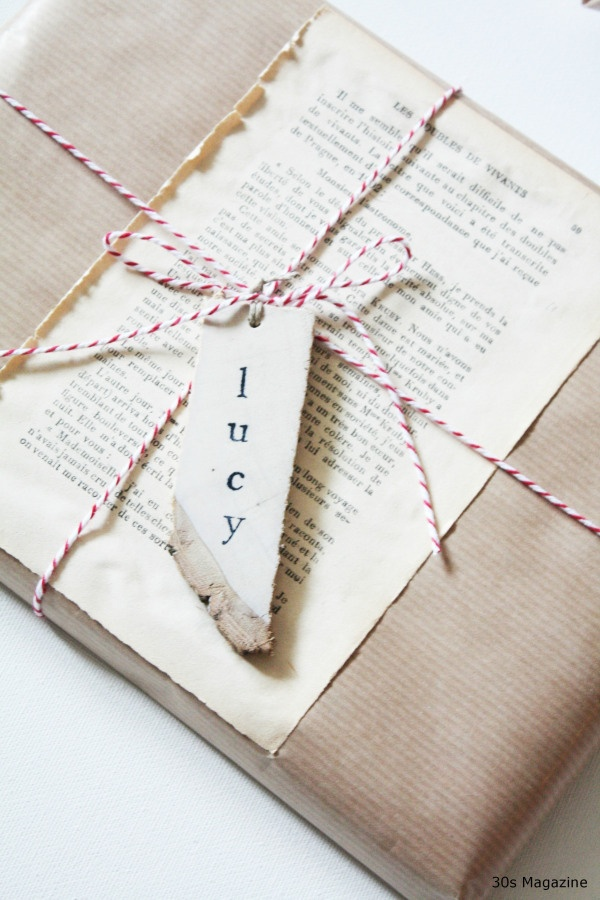 brown paper gift wrapping with page from old book <3