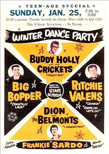 'Winter Dance Party Featuring Buddy Holly, Big Bopper, Ritchie Valens' And More! - Fantastic A4 Glossy Print Taken From A Vintage Concert Poster by Unknown http://www.amazon.co.uk/dp/B00H6YWM90/ref=cm_sw_r_pi_dp_puXmvb19QGPG7