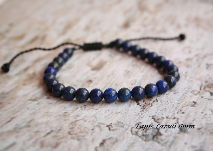 Lapis Lazuli Bracelet, Men Bead Bracelet, Men Healing Bracelet, Chakra Stone, Men Gift, for him, for her, Birthstone Sagittarius & Libra by SanguineJewelry on Etsy