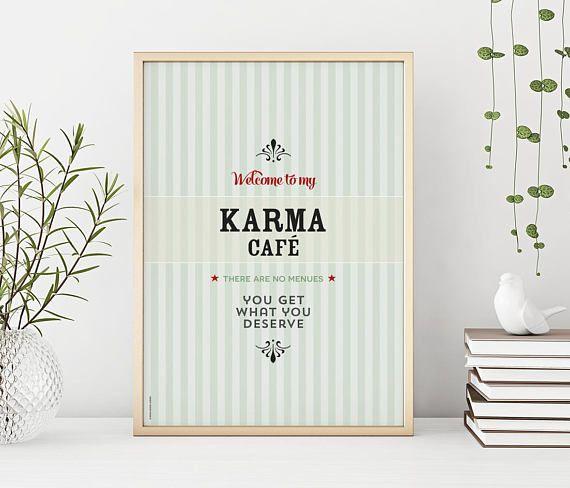 Karma café vintage green  print