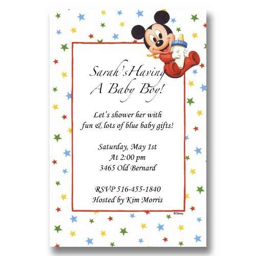 Disney Baby Mickey Bottle Baby Shower Invitations
