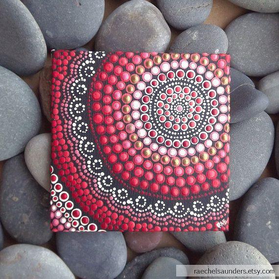 Acrylic paint on Canvas Board, Aboriginal Dot Art Painting, Fire Painting,  Hand Painted Original, 10cm x 10cm, Red decor