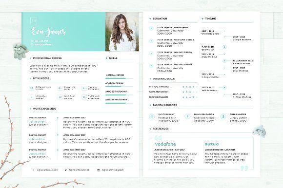 Resume/CV - Eva by 3Angle on @creativemarket