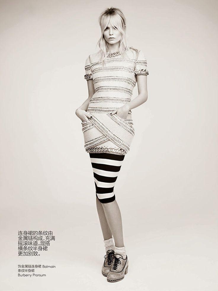 Natasha Poly takes on prints in the Vogue China May 2014