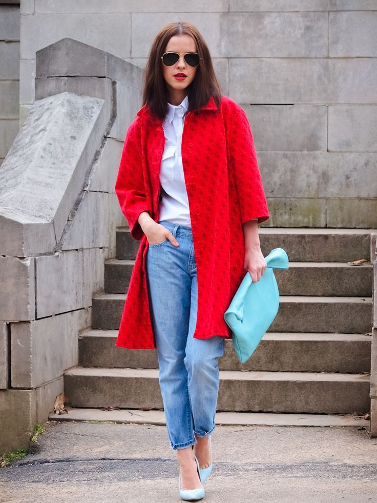 Shop this look on Lookastic:  http://lookastic.com/women/looks/sunglasses-dress-shirt-coat-clutch-jeans-pumps/5885  — Black Sunglasses  — White Dress Shirt  — Red Coat  — Aquamarine Leather Clutch  — Blue Jeans  — Light Blue Leather Pumps