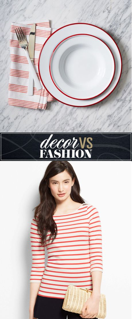 Decor vs. fashion: red and white dinnerware or shirt