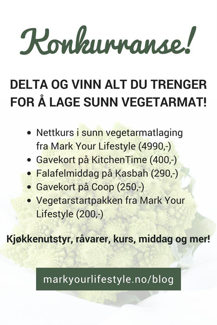 Stor giveaway - konkurranse der du kan vinne! Alt du trenger for å lage sunn vegetarmat - nettkurs, gavekort på kjøkkenutstyr, falafelmiddag for to, gavekort på grønnsaker og en startpakke som får deg i gang!