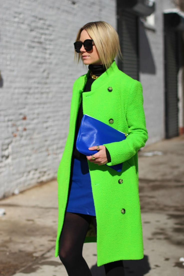 Atlantic-Pacific: it's electric - Acne jacket,   Forever 21 skirt, Club Monaco tights, Karen Walker sunglasses, Everlane sweater, Rebecca Minkoff bag, and Pomellato and Bauble Bar rings.