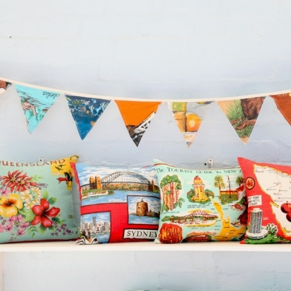 cottage industry's vintage teatowel bunting $15 at larkstore.com.au