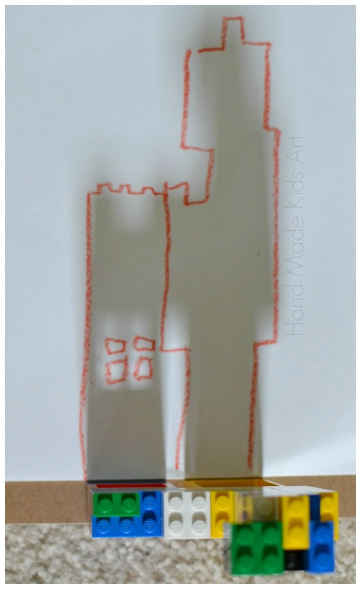 Lego Drawing Ideas-so many skills are practiced with this activity (shadows and science; size and shapes for math; fine motor control; art as details are added; building and architecture...this is awesome! Even a flashlight behind the structure would work! JK