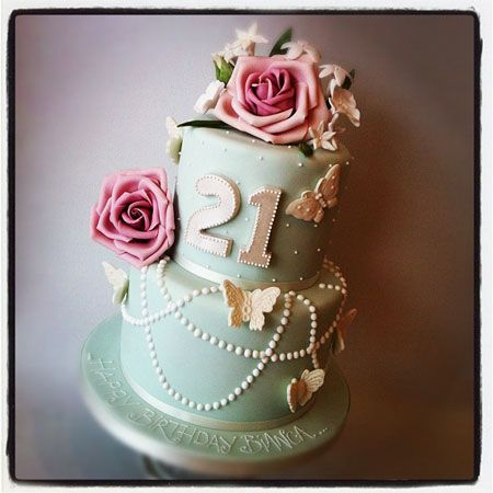 21st Birthday cake with roses, pearls and butterflies, by Anna Tyler Cakes