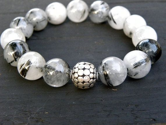 SALE Tourmalinated Quartz and Sterling Silver Beaded by TANGRA2009