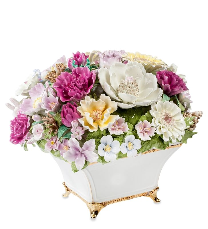 "Композиция из костяного фарфора ""Ваза с цветами"" CMS-33/2 (Pavone)   Бренд: Pavone (Италия);      Страна производства: Китай;   Материал: фарфор;   Длина: 28 см;   Ширина: 27 см;   Высота: 24,5 см;   Вес: 5,1 кг;      #фарфор #цветы"