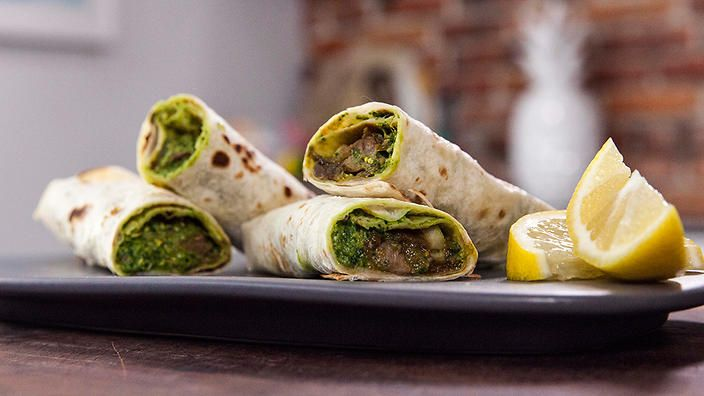 Lamb khati rolls. India's version of a wrap. Recipe by Anjum Anand.