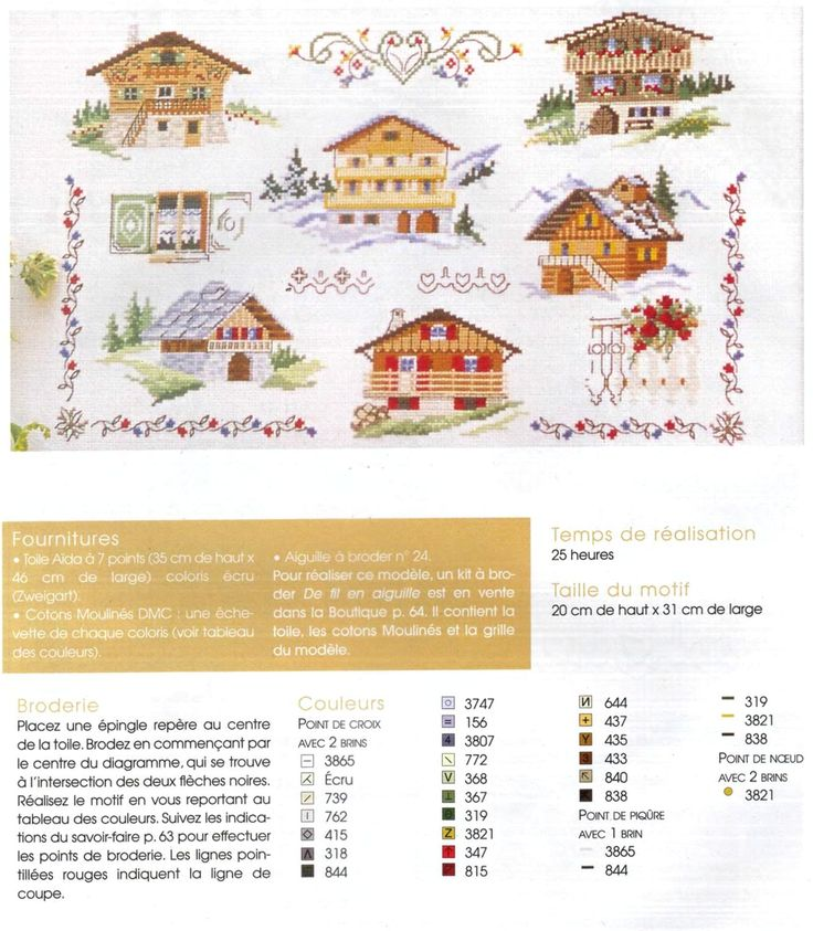 Chalets with colour chart
