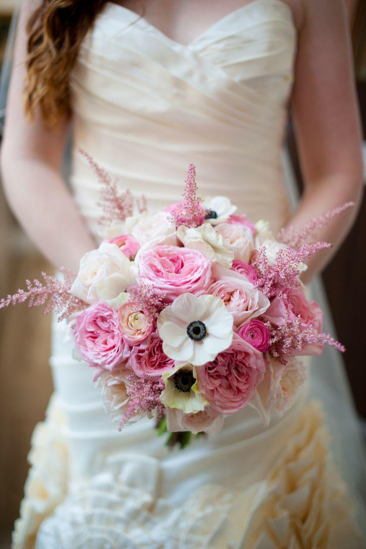 #Pink plus #Anemones | See the elegant wedding on SMP - http://www.StyleMePretty.com/little-black-book-blog/2014/01/10/dar-headquarters-pink-gold-wedding/ Rebekah Hoyt Photography