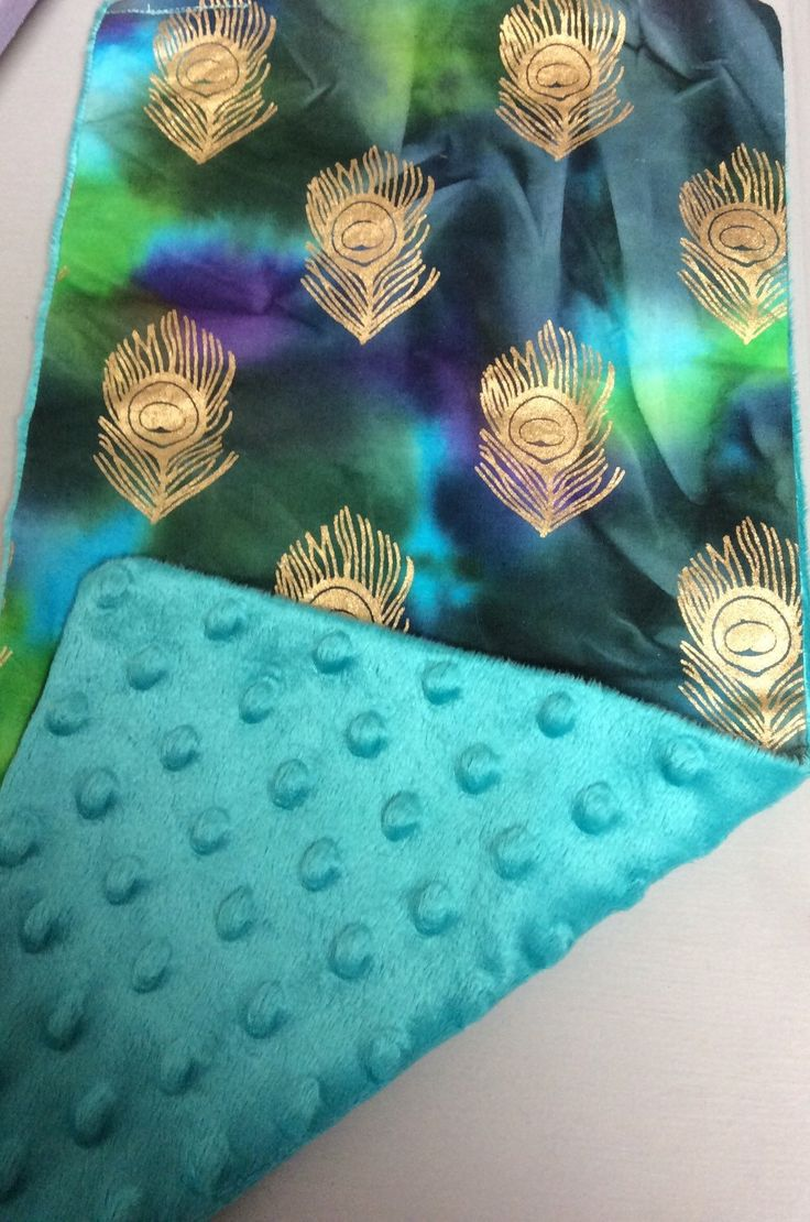 Peacock feather fabric shower curtain quot teal peacock feather quot green - Baby Burp Cloths Rags Made From Cotton And Minky Fabric The Front Is Purple Green And Blue With Gold Peacock Feathers