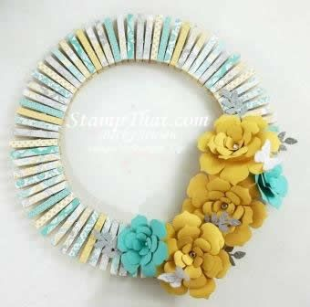 Eastern Elegance DSP was used to create this impressive wreath!: Pinzas Clothespins, Flowers Die, Ideas Su, Paper Flowers, Clothespins Wreaths, Washi Tape, Pin Wreaths, Flowers Coral, Clothes Pin Wreath