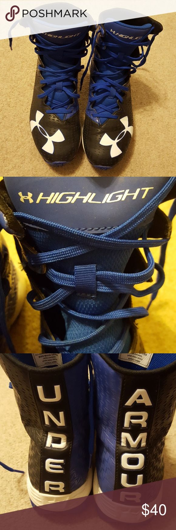 Underarmour Boys Football Cleats Hardly Worn Great Condition  Fits Ages 11-12 / 6th Grader Under Armour Shoes Sneakers