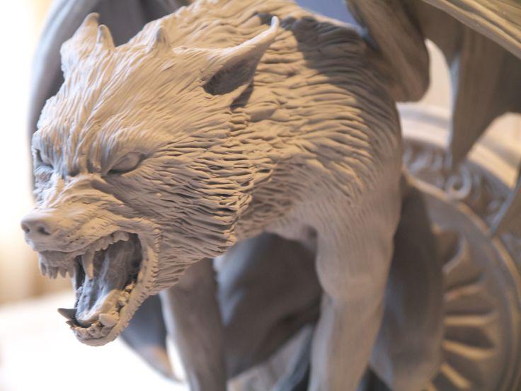 closeup of werewolf gargoyle, made in sculpey polymer clay to be lost wax cast in bronze