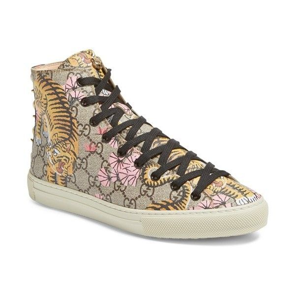 Women's Gucci Major Tiger High Top Sneaker (9.283.810 IDR) ❤ liked on Polyvore featuring shoes, sneakers, beige multi, decorating shoes, high top trainers, hi tops, gucci high tops and high top shoes
