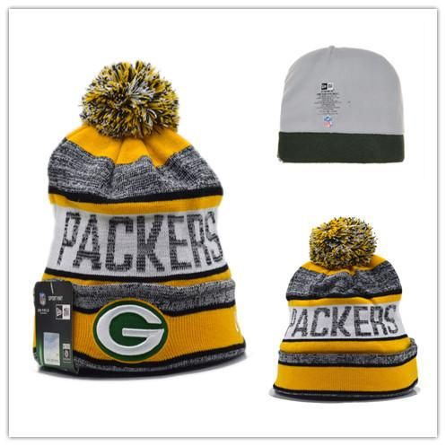 Men's / Women's Green Bay Packers New Era NFL Sports On-Field Stripes Knit Pom Pom Beanie Hat - Gold / Grey