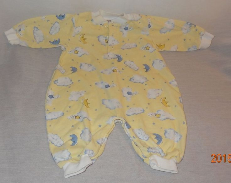 Baby Boy Girl Pajamas Sleeper Yellow Tad Little 0-6 Months Unisex Clouds Moon #TadLittle #OnePiece