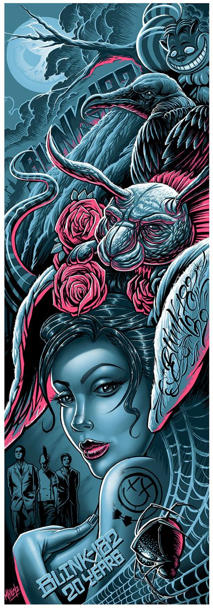 Blink-182 psychedelic  - Classic heavy metal rock music concert psychedelic poster ~ ☮  レ o √ 乇 !!