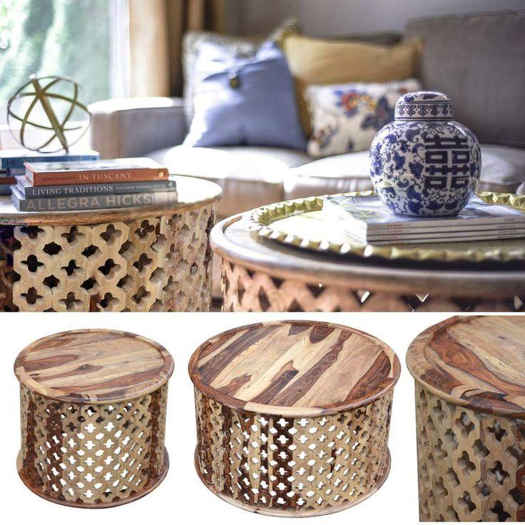 """Orientalny #okrągły #stolik """"Marocco"""" duży WJ001 zrobiony jest z litego drewna egzotycznego. Misternie wycinana wzorki tworzą atrakcyjną dla oka koronkę. Stolik wygląda lekko i wnosi do wnętrza element egzotyki. #oriental #marrakesh #indyjskie #kolonial #egzotyczne #natural #morocco #meble #salon"""