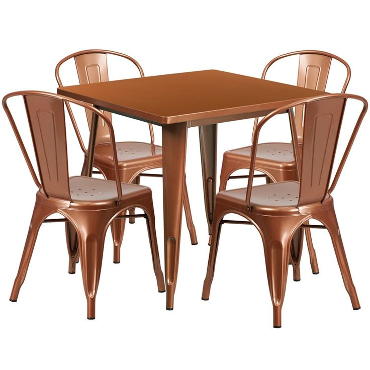 iHome Lenzburg Square 31.5'' Copper Metal Indoor-Outdoor Table Set w/4 Stack Chairs for Restaurant/Bar/Pub/Patio, Brown, Size 5-Piece Sets, Patio Furniture