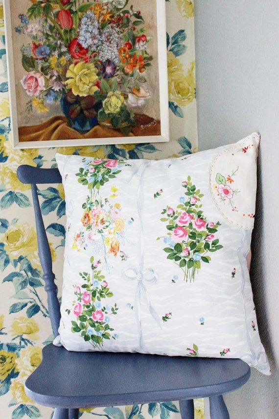 Pretty Embroidered Floral Cushion by vickytrainor on Etsy, £60.00