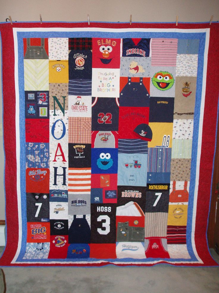 Patchwork Style Quilt made from baby by BarbMalmTshirtQuilts