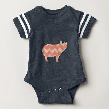 #cute #baby #bodysuits - #Cute Coral Chevron Pig Baby Bodysuit