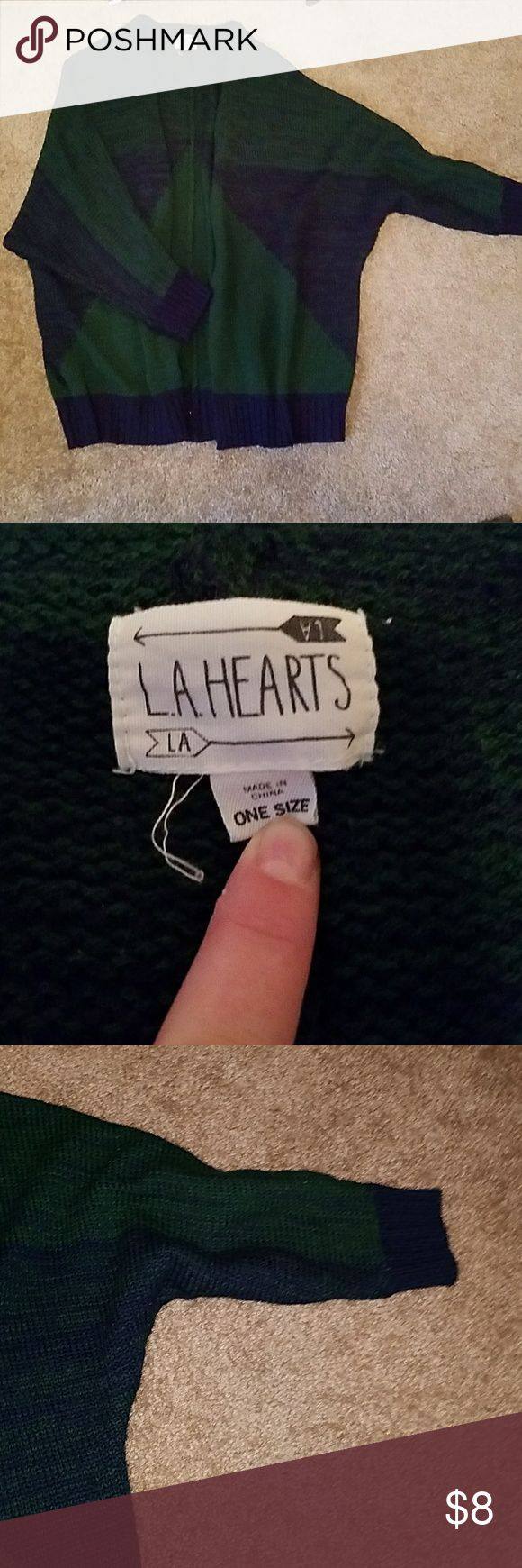 L.A. HEARTS warm fuzzy sweater Dark green and dark blue in color! Super warm, perfect for fall! One size. Has the baggy oversized sweater look with slightly shorter sleeves. Has some wear. Super cute! La Hearts Sweaters Cardigans