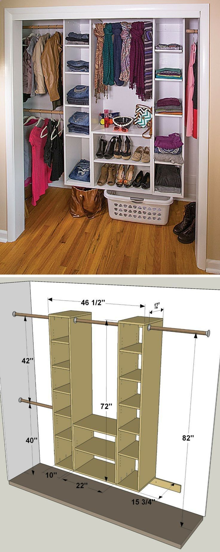 This Diy Closet Organizer Makes It Easy To Turn A Chaotic Closet Into A Clean Organized Space It S Made Up Of A Coup Closet Remodel Diy Closet Closet Bedroom