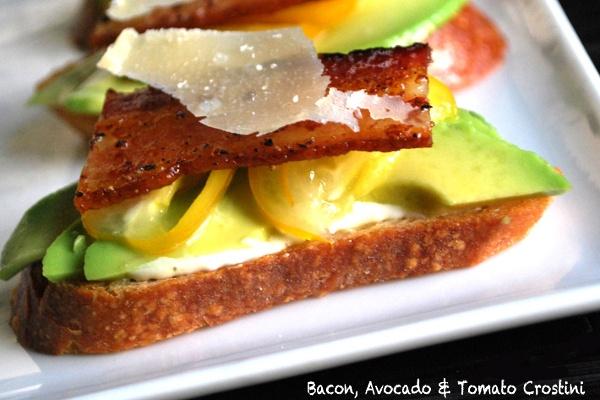 Bacon, Avocado & Tomato Crostini | This is FOOD | Pinterest