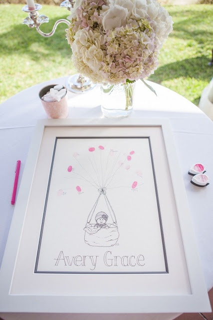 Vintage Hot Air Balloon Baby Shower - Finger print hot air balloon print as a guest book alternative!