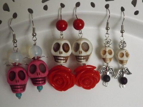 """""""Dia de los Muertos"""" fülbevaló,  Mexikó, halottak napja, Dél-Amerika, lánynak, nőnek, ajándék, Ékszer, óra, Fülbevaló, Meska"""