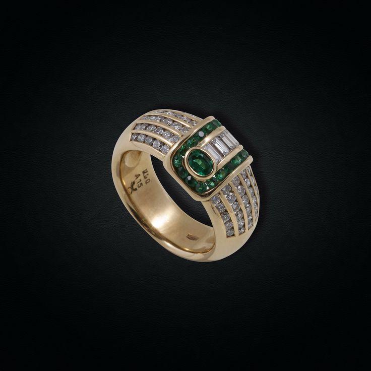 Vintage Design Emerald & Diamond Chevalier