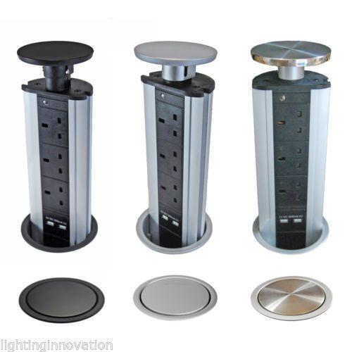 PULL-POP-UP-ELECTRICAL-PLUG-SOCKET-2-USB-KITCHEN-WORKTOP-BRUSH-CHROME-BLACK-TOP