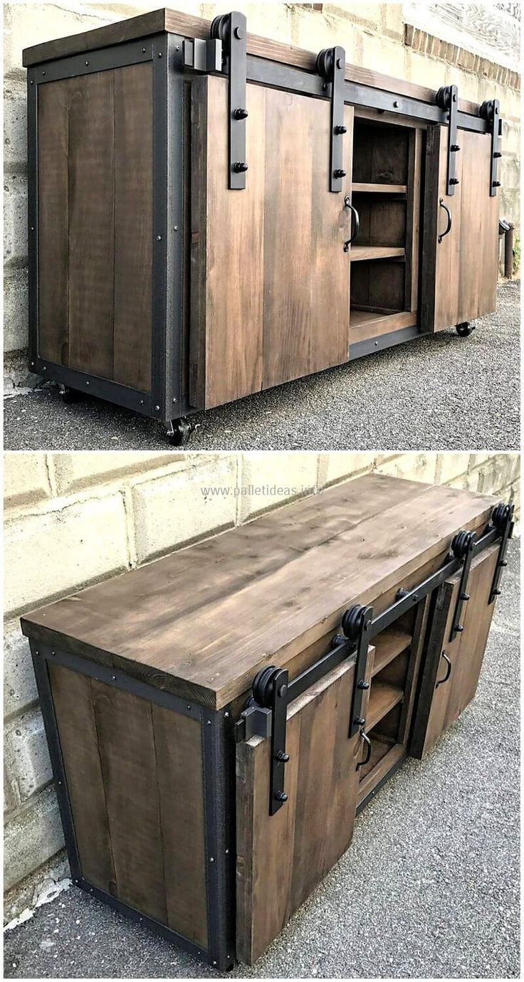 Rustic designing of old shipping pallets has been done here for the renovation of your house. This reclaimed wood pallets tv stand is best to locate in your lounge as it is comprised of two large wooden door cabinets, three wooden shelves rack a large wooded area on top for the placement of your TV set and also renovated with the aluminum material on sides. #pallets #woodpallet #palletfurniture #palletproject #palletideas #recycle #recycledpallet #reclaimed #repurposed #reused #restore…