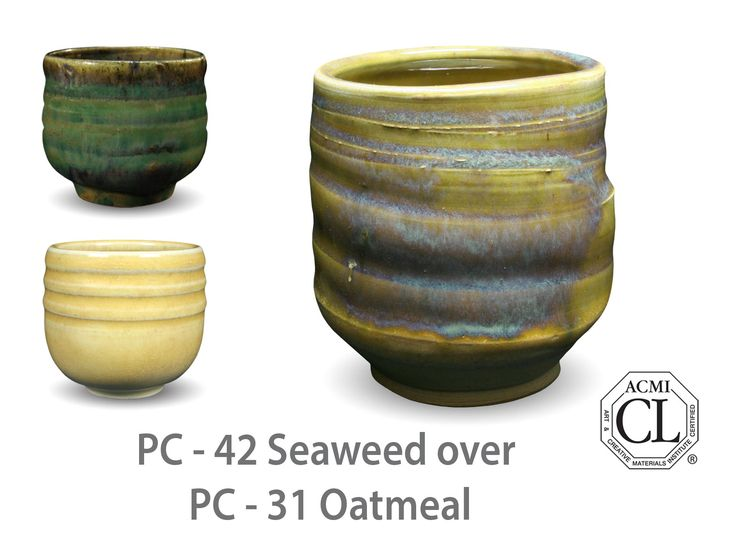 AMACO Potter's Choice layered glazes PC-31 Oatmeal and PC-42 Seaweed.