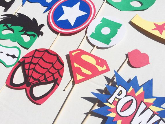 Super Hero Birthday Party Photo Booth Props by LetsGetDecorative